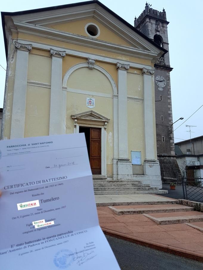 Busca de certidão de batismo pela NordItalia - família Tumelero