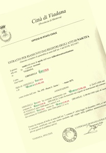 Busca de certidão de nascimento pela NordItalia - família Ghinzelli