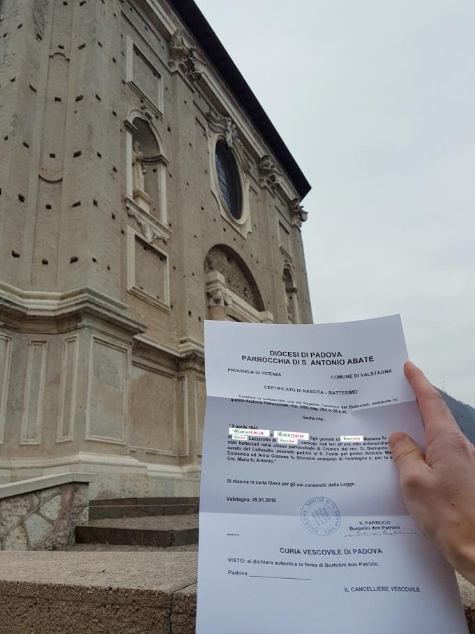 Busca de certidão de batismo pela NordItalia - família Mattana