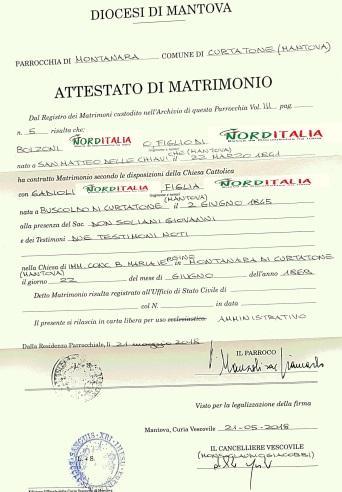 Busca de certidão de matrimônio pela NordItalia - família Bolzoni.