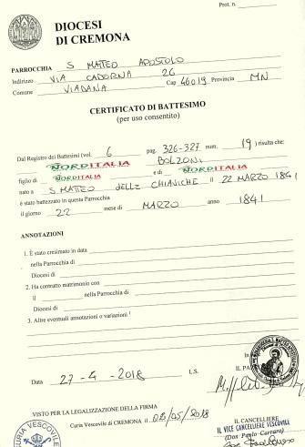 Busca de certidão de batismo pela NordItalia - família Bolzoni.