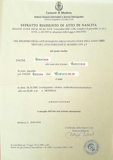 Busca de certidão de nascimento pela NordItalia - família Zagni