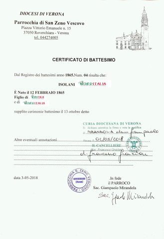 Busca de certidão de batismo pela NordItalia - família Isolani