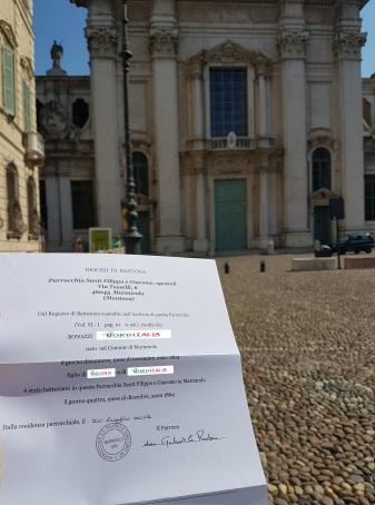 Busca de certidão de batismo pela NordItalia - família Bonazzi