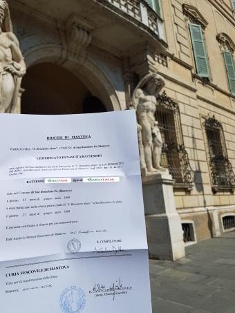 Busca de certidão de batismo pela NordItalia - família Battesini