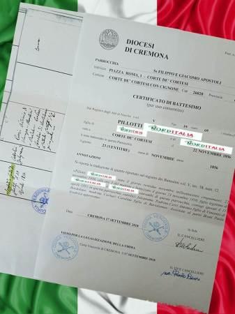 Busca de certidão de batismo pela NordItalia - família Pillotti