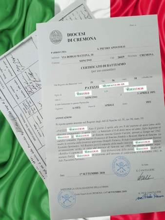 Busca de certidão de batismo pela NordItalia - família Patizzi