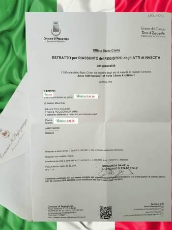 Busca de certidão de nascimento pela NordItalia - família Papotti