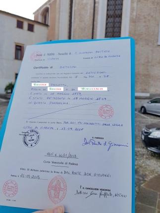 Busca de certidão de batismo pela NordItalia - família Pauletto