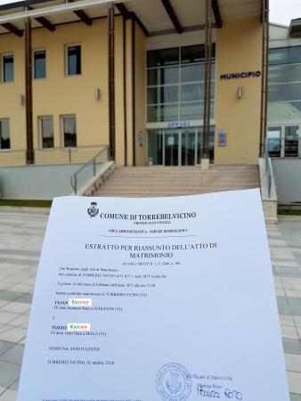 Busca de certidão de casamento pela NordItalia - famílias Ulian e Tozzo