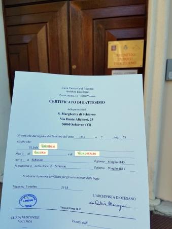 Busca de certidão de batismo pela NordItalia - família Ulian