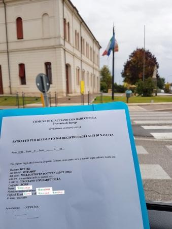 Busca de certidão de nascimento pela NordItalia - família Rossi